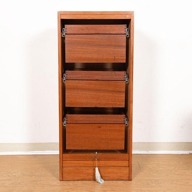 Danish Teak Locking Tambour Door Filing Cabinet For Sale - Image 4 of 9