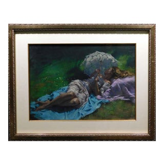"Vicente Romero ""Descanso en El Jardin"" Original Pastels Figures Hand Signed Artwork For Sale"