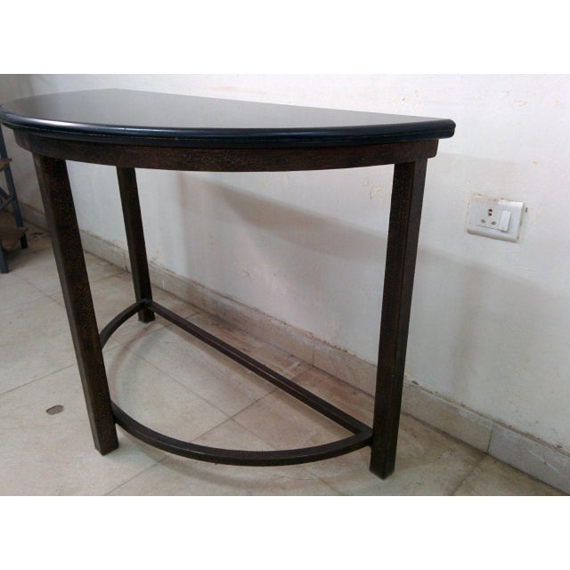 Semi-Circle Metal Console Table with Marble Top For Sale - Image 7 of 10