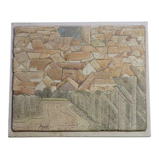 1960s Mid-Century Modern Cityscape Ceramic Rooftops Tile Painting For Sale