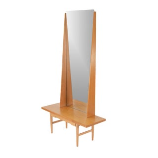 Mid Century Modern Swedish Mirror and Hall Table in Oak by Emmaboda Mobelfabrik For Sale