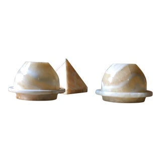 Mid Century Handburnished Marble Stone Censers and Candleholders - Set of 3 For Sale