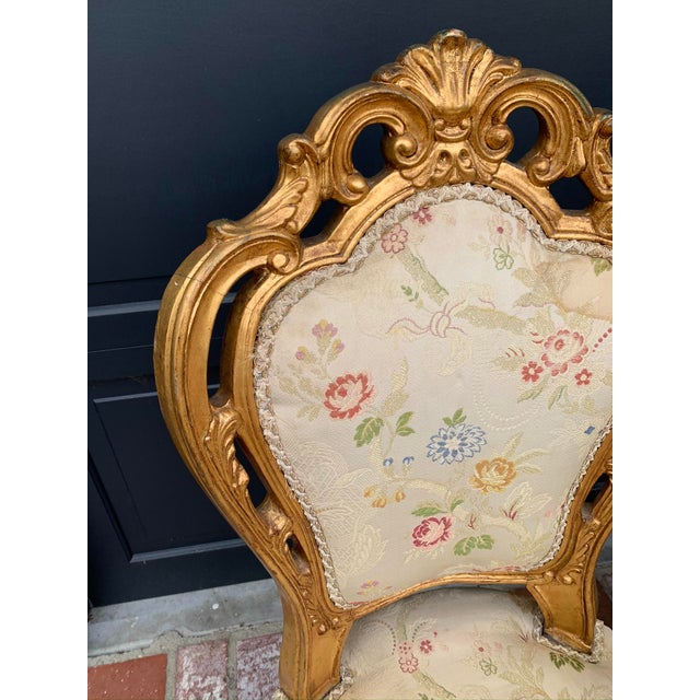 Gold Antique Gold Leaf Painted Louis XIV Style Chairs - Set of 8 For Sale - Image 8 of 12