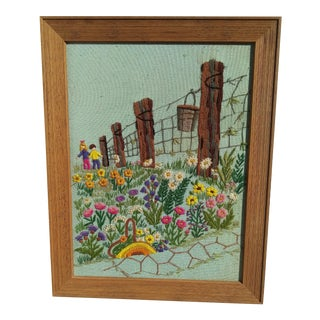 Finished Crewel Embroidery Children in Field With Wildflowers Artwork