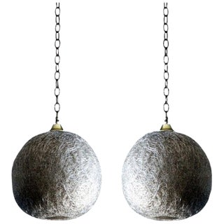 Pair of White Glass Thread Globe Hanging Lights For Sale