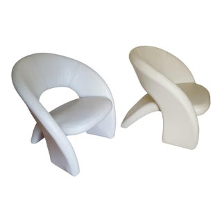 Custom White Leather Cantilever Chairs - A Pair For Sale