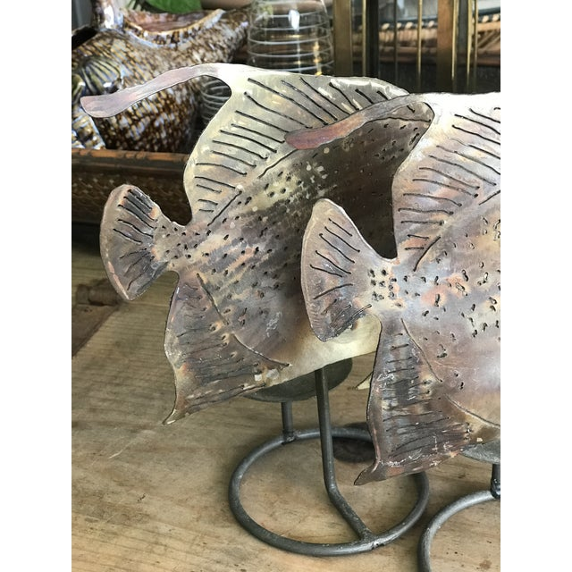 Brutalist Metal Fish Candle Holder - the Pair For Sale - Image 10 of 13