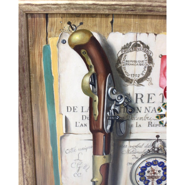 Mid-Century 1955 Charles Cerny Trompe l'Oeil Oil Painting For Sale - Image 4 of 13