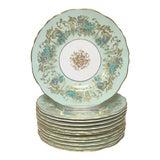 Image of Royal Cauldon Gainsborough Teal Green Appetizer Plates Set 12 For Sale