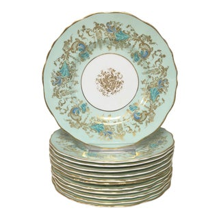 Royal Cauldon Gainsborough Teal Green Appetizer Plates Set 12 For Sale