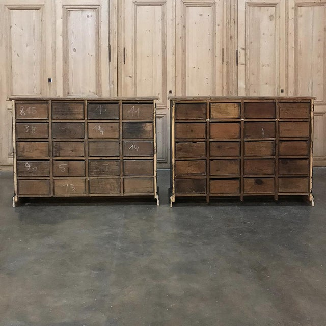 Antique French Pharmacy Cabinets With Original Enamelled Labels - a Pair For Sale - Image 10 of 12