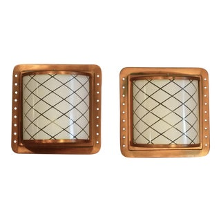 1960s Arts & Crafts Style Copper Wall Lights With Glass Diffusers Wall Sconces - a Pair For Sale