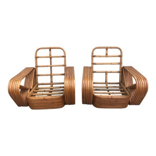 Paul Frankl Mid Century Bent Rattan Lounge Chairs - a Pair For Sale