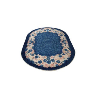 Antique Chinese Art Deco Handmade Knotted Oval Rug - 6x9 For Sale
