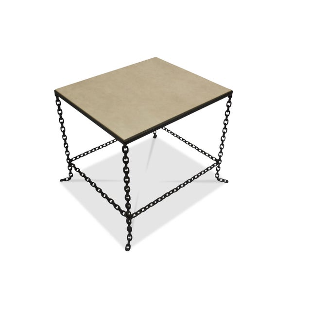 Metal Mid-Century Modern Stone Topped Chain Link Side Table For Sale - Image 7 of 7