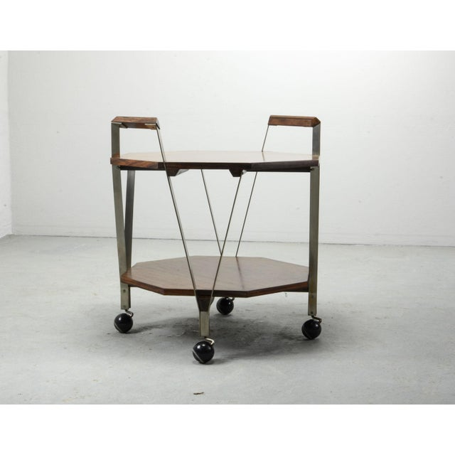 Italian Mid-Century Octagonal Serving Trolley Designed by Ico Parisi for Stildomus Milan, Italy, 1959 For Sale - Image 3 of 13