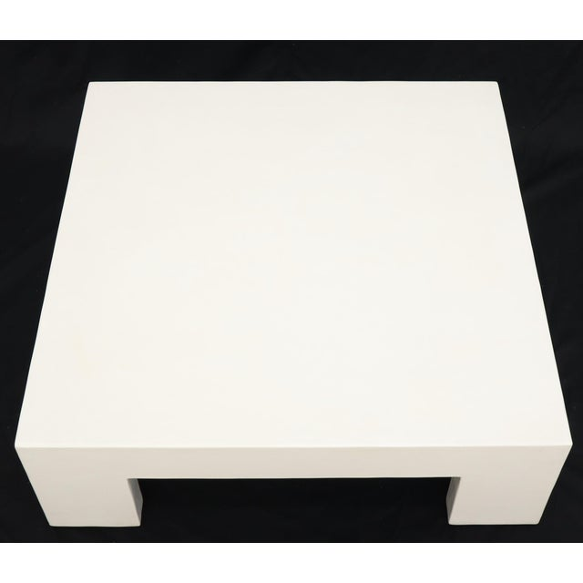 White Robert Kuo Large Square White Enamel Lacquer Coffee Table For Sale - Image 8 of 13
