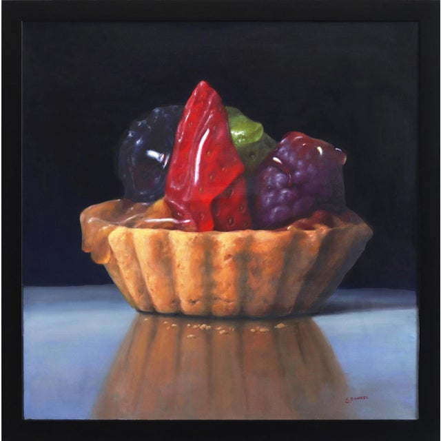"""Strawberry Tartle"" Framed Original Photorealistic Oil Painting by Stuart Dunkel For Sale"
