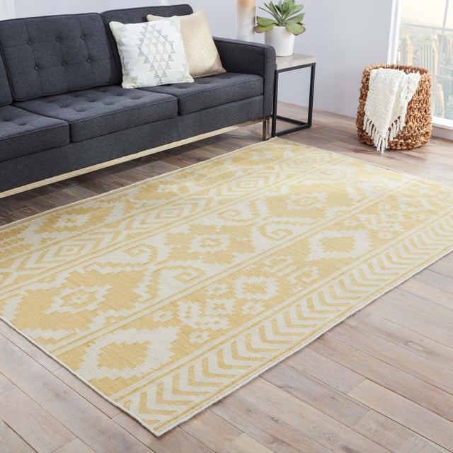 2010s Jaipur Living Farid Handmade Ikat Yellow/Cream Area Rug - 9′ × 12′ For Sale - Image 5 of 6