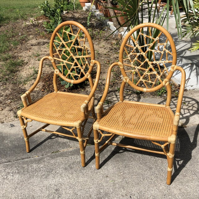 """Hollywood Regency McGuire """"Cracked Ice"""" Rattan Chairs - a Pair For Sale - Image 10 of 10"""