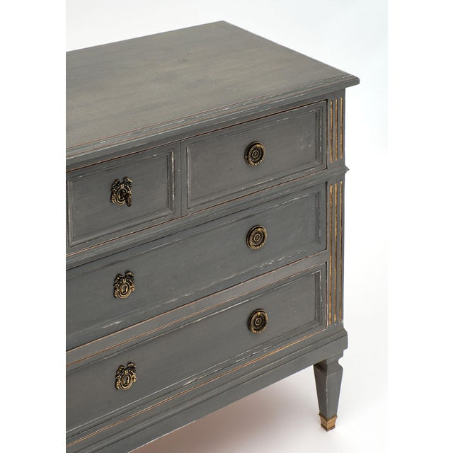 French Antique Louis XVI Style Gray Painted Chest For Sale - Image 3 of 10