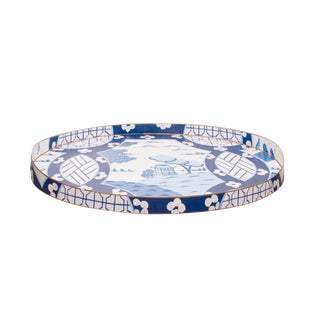 Dana Gibson Canton in Blue Serving Tray For Sale
