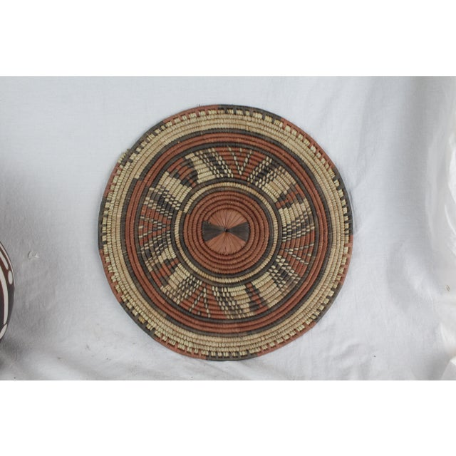 Textile Tribal Style Brown Platter For Sale - Image 7 of 7