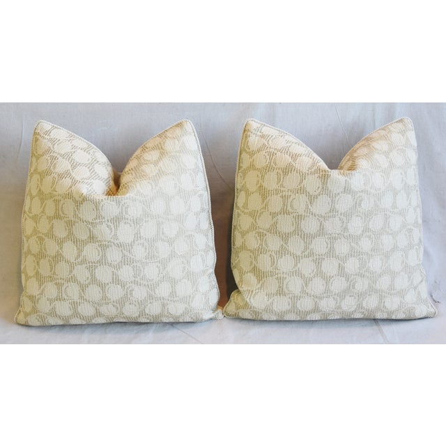 """Italian Embroidered Silk & Leather Feather/Down Pillows 21"""" Square - Pair For Sale In Los Angeles - Image 6 of 13"""