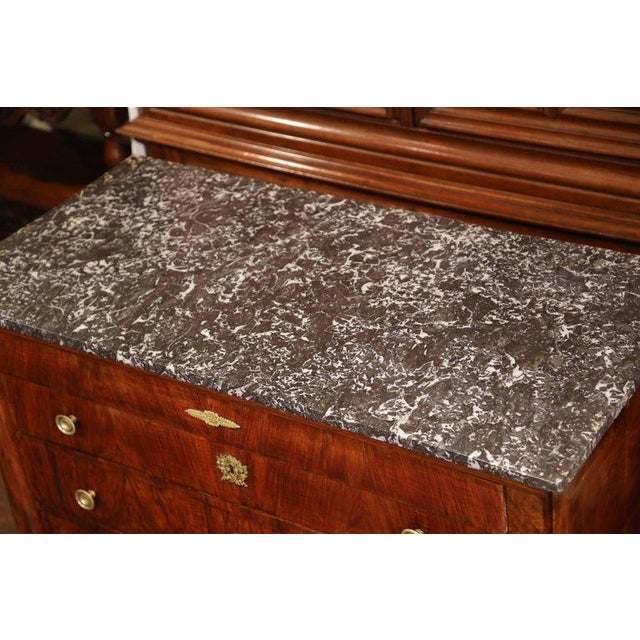 19th Century French Empire Walnut Four-Drawer Commode With Black & White Marble For Sale In Dallas - Image 6 of 8