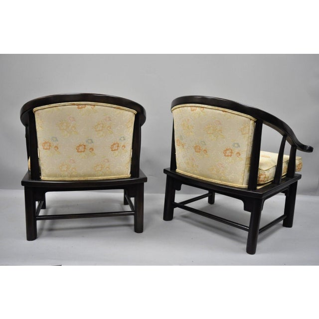 Brown Century Chair James Mont Horseshoe Ming Style Lounge Armchairs - a Pair For Sale - Image 8 of 11