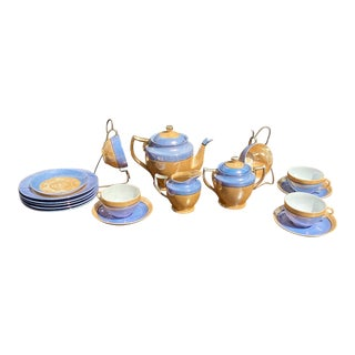 Vintage Peach Lusterware Tea & Dessert Service- 17 Pieces For Sale