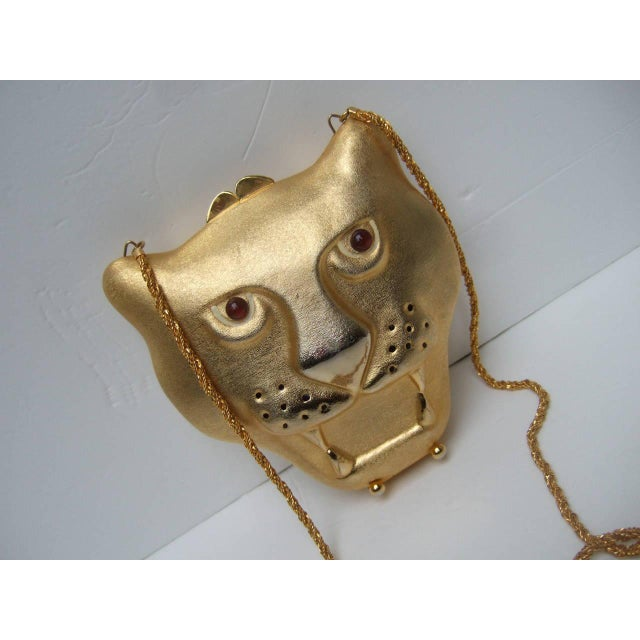 Saks Fifth Avenue Gilt Metal Panther Evening Bag Made in Italy For Sale - Image 4 of 8