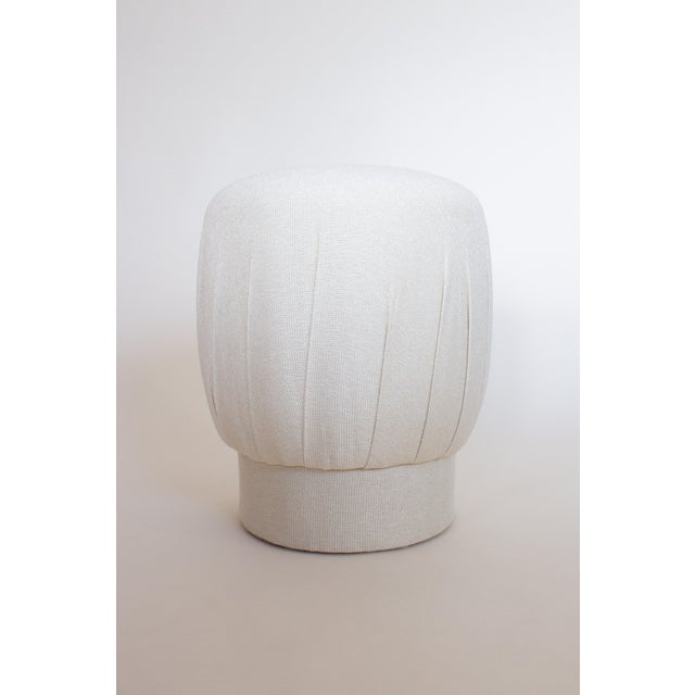 1980s Art Deco Cream Pouf Ottoman Stool For Sale In New York - Image 6 of 6