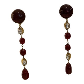 Chanel Cranberry Glass and Crystal Drop Earrings For Sale