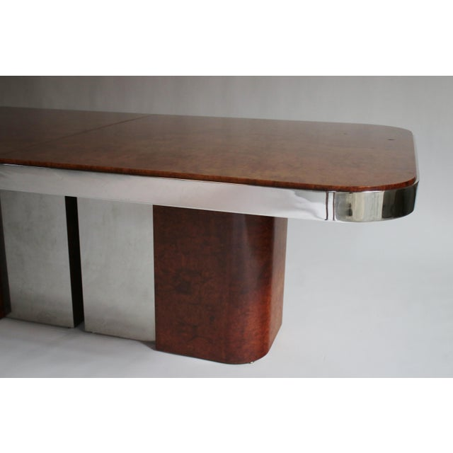 Burl Wood and Steel Dining Table For Sale In Chicago - Image 6 of 10