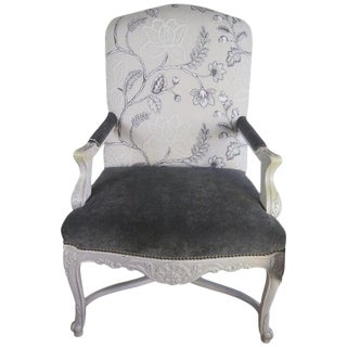 Lee Jofa Grey Velvet Floral Print Armchair For Sale