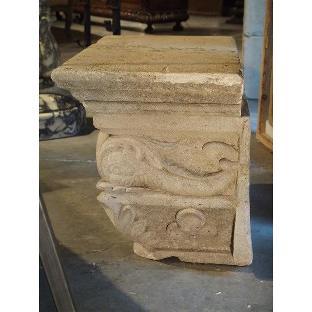 Antique Beige Limestone Statue Pedestal from France, Savonnières-en-Perthois, 19th Century For Sale In Dallas - Image 6 of 11