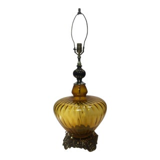 1950s Large Amber Glass Table Lamp For Sale