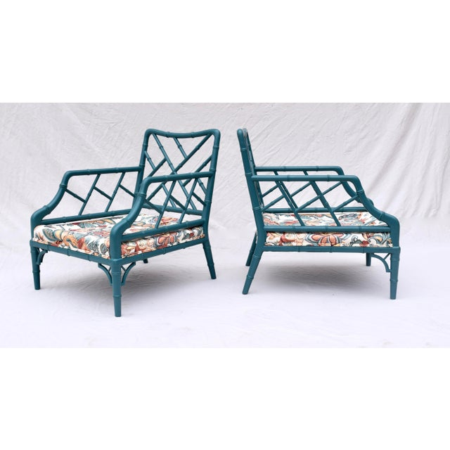 Faux Bamboo Chinese Chippendale Lounge Chairs For Sale - Image 10 of 13