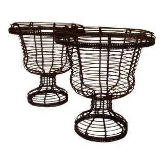 French Iron Indoor -Outdoor Jardinières Planters - a Pair For Sale