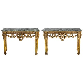 Pair of Italian Carved Giltwood Consoles, 19th Century For Sale