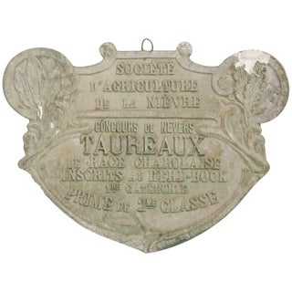 1940s French Bull Plaque 'Trophy' For Sale
