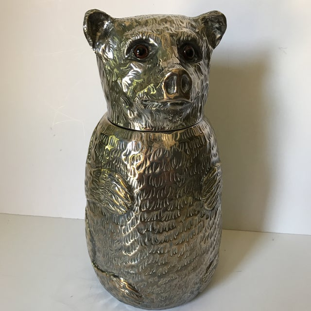 Wonderful bear ice bucket or wine cooler attributed to Franco Lapini, Florence, Italy, 1970s. Stamped made Italy. The bear...