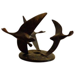 Art Deco Bronze Sculpture of Flying Geese on an Adjustable Base For Sale
