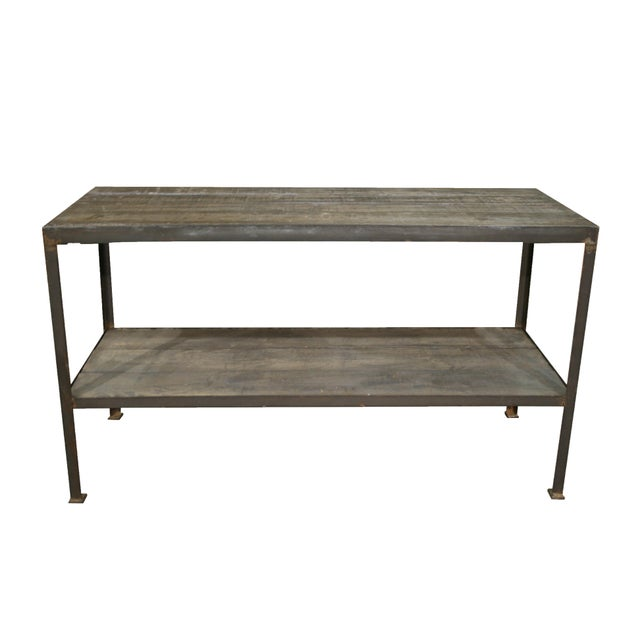Mid Century Wood & Iron Work Table With Lower Shelf For Sale In Nashville - Image 6 of 6