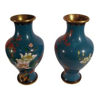 Antique Chinese Cloisonné Vases - A Pair