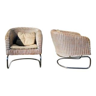 Mid-Century Wicker Cantilever Chairs - A Pair