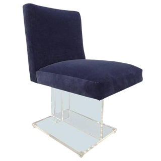 Blue Velvet Side Chair With Lucite Base For Sale