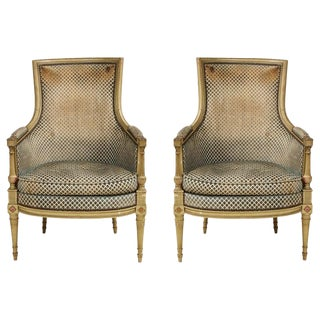 Antique Painted Directoire-Style Bergeres - a Pair For Sale