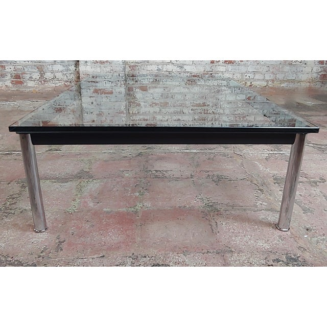 Le Corbusier for Cassina Vintage Rectangular Glass Top Coffee Table For Sale In Los Angeles - Image 6 of 10